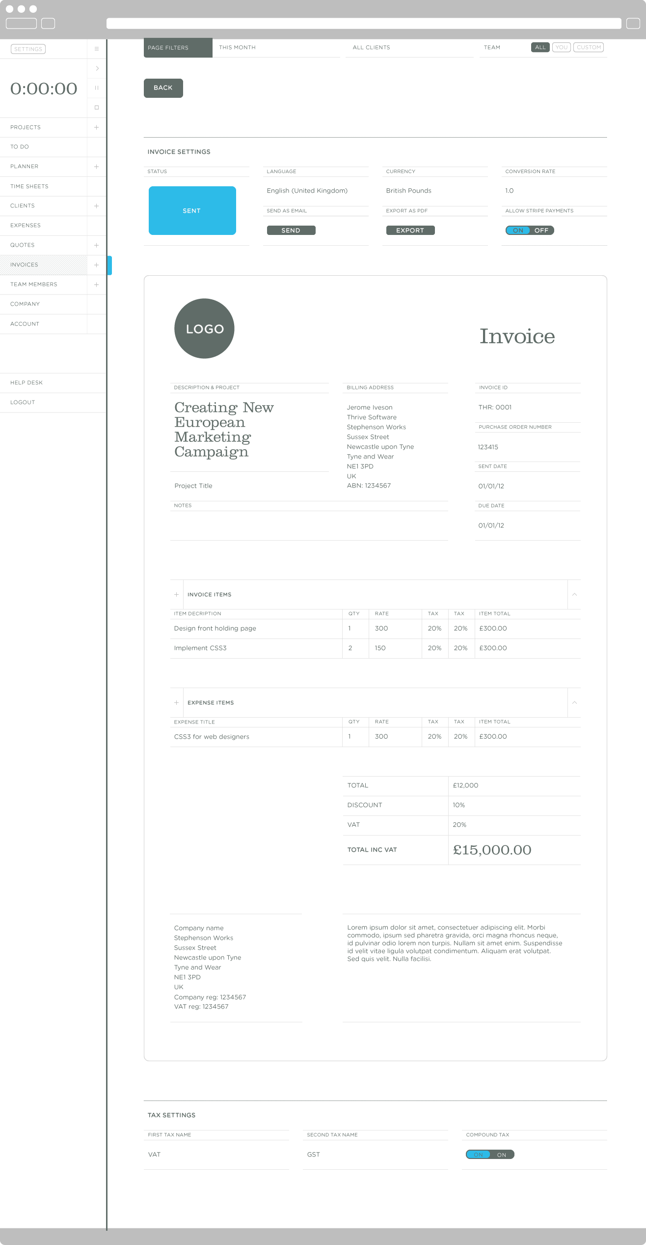 project management software solo invoice software
